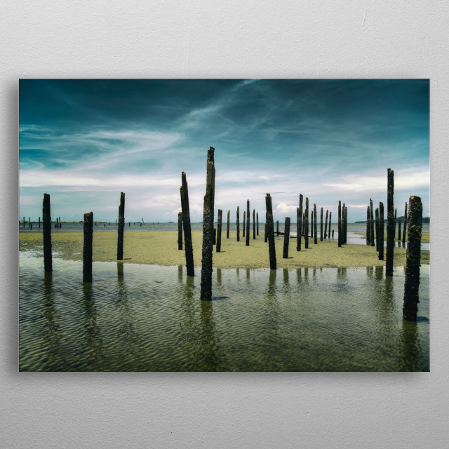 Landscape photography of vertical wood stick in the sea over the horizon metal poster