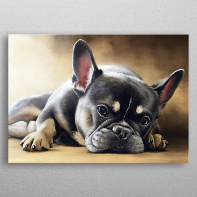 A digital painting of a French bulldog. metal poster