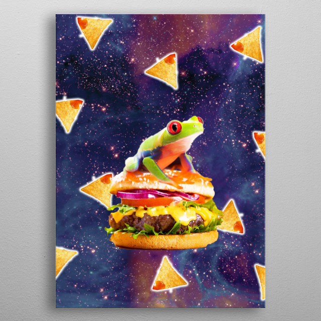 Pick up this funny hipster design with a galaxy frog on cheeseburger and tortilla corn chips. metal poster