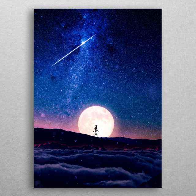 Walking the lonely mountain under the moonlight. metal poster
