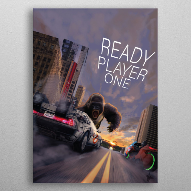 Ready Player One is a 2011 science fiction novel, and the debut novel of American author Ernest Cline. The story, set in a dystopia in 2044, metal poster