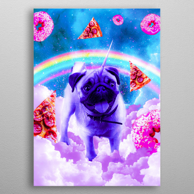 Pick up this funny pug galaxy design. metal poster