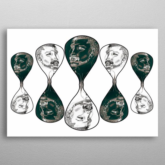 Esta obra é desenhada manualmente em pastel sobre papel preto. manipulada digitalmente. As pessoas no tempo fala da diferença entre P&B metal poster