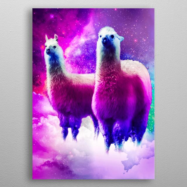 Pick up this funny cosmic llama in clouds design. metal poster
