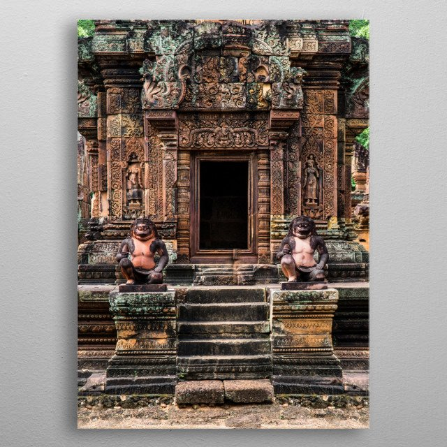 Pretty entrance to Banteay Srei - 10th-century Cambodian temple dedicated to the Hindu god Shiva. metal poster