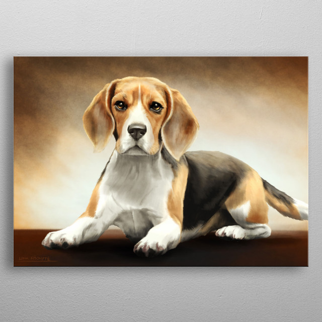 Digital painting of a beagle dog. metal poster