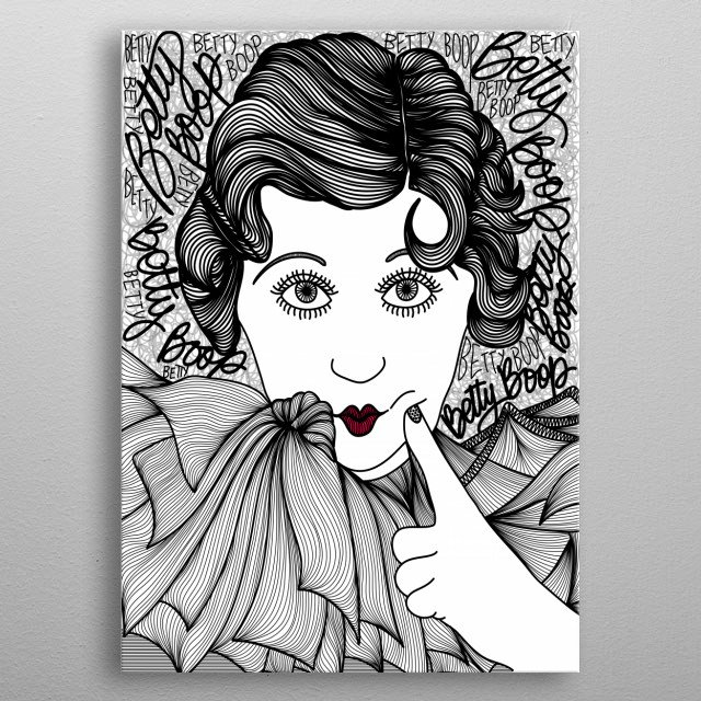 Betty Boop as May Quest and May Quest as Betty Boop! A beautiful classic in black and white. metal poster