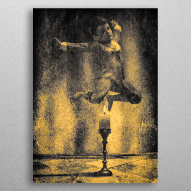 Jack Be Nimble jumping over the candle stick. Inspired by the nursery rhyme of the same name. Original illustration by Bob Orsillo metal poster