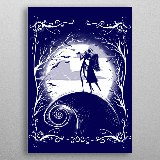 Jack and Sally dancing under the moon metal poster