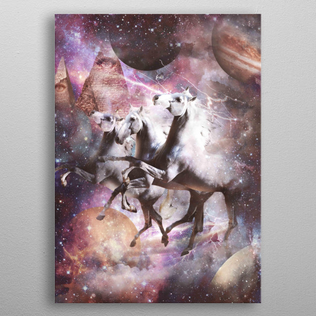 Pick up this epic galaxy horse riding design. metal poster