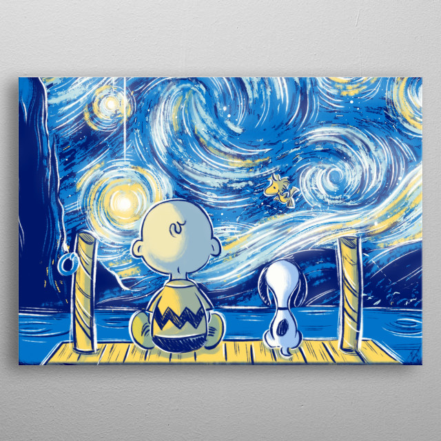 Charlie Brown and Snoopy under the starry sky of Vincent Van Gogh metal poster