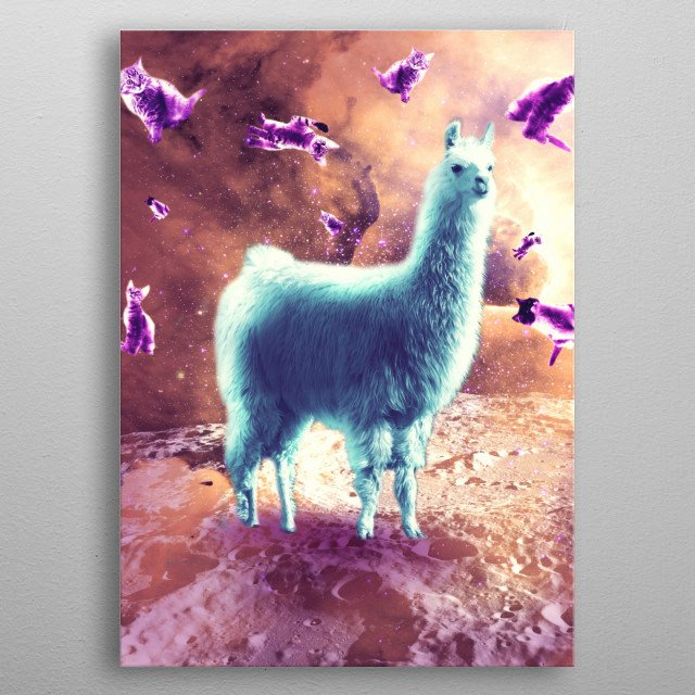 Pick up this crazy funny kitty cat with llama design. metal poster