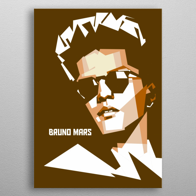 bruno mars in vector style by colies artwork metal poster