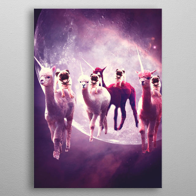 Pick up this crazy funny galaxy pug on alpaca unicorn design. metal poster