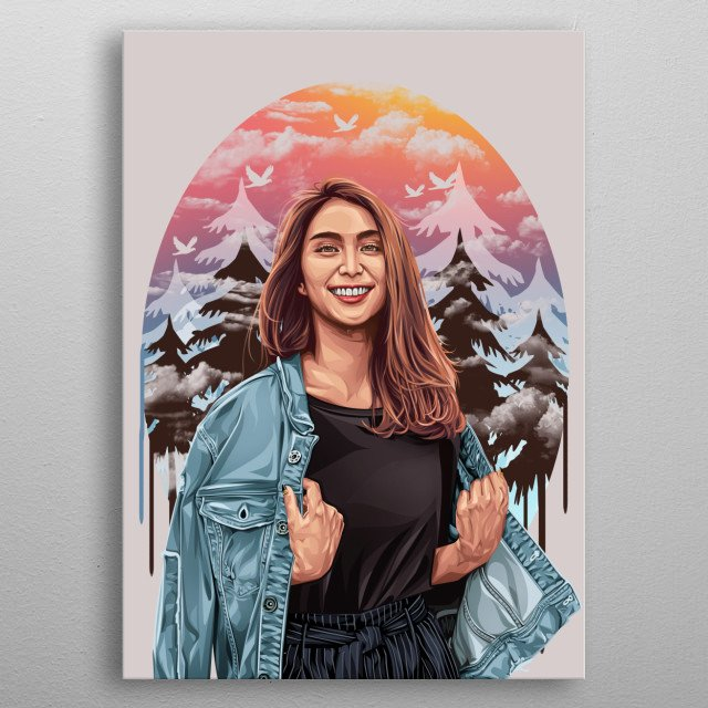 ClairineClay is an artist and YouTube player in Indonesia. she has a beautiful and charming face. and made me interested in making this work metal poster