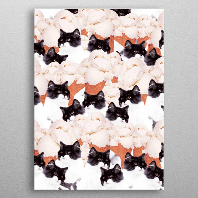 Pick up this crazy funny kitty cat with ice-cream collage design. metal poster