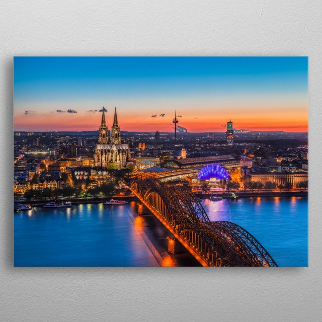 Cologne (Köln), Germany - Panorama of the City at Sunset metal poster