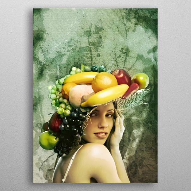 Basket Hat with fruit. metal poster
