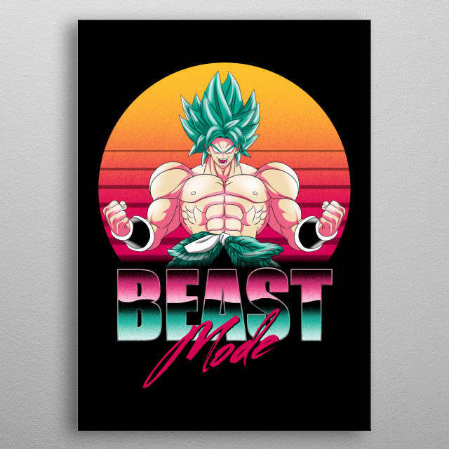 Broly in retro style metal poster
