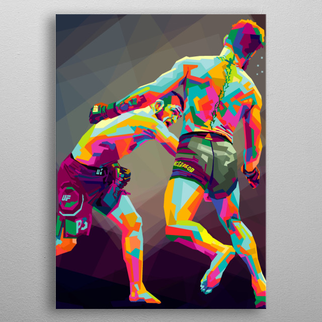 khabib vs mc gregor in style wpap pop art.competition in ufc metal poster