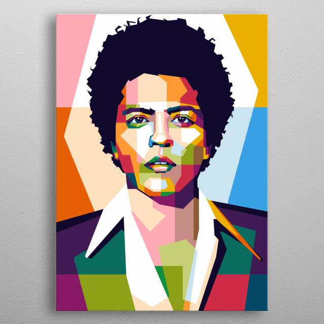 Bruno Mars in Style WPAP Pop Art metal poster