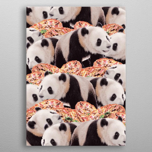 Pick up this crazy funny panda with pizza collage design. metal poster
