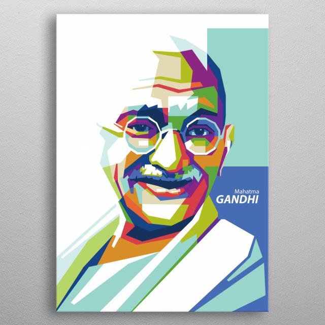 Mahatma Gandhi in WPAP Pop Art metal poster