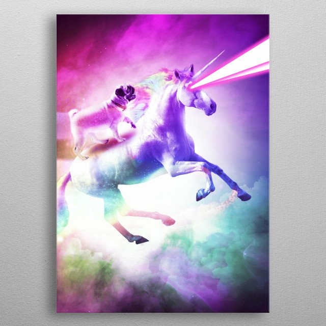 Pick up this awesome galaxy pug riding on unicorn with lasers design. metal poster