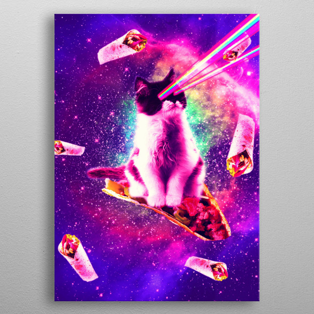 Pick up this funny galaxy kitty cat design. metal poster