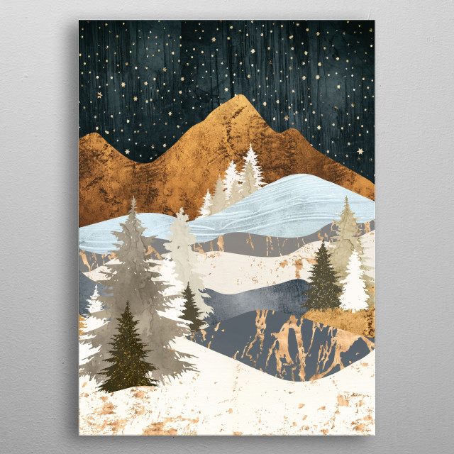 Abstract depiction of a winter stars with mountains, trees and gold metal poster