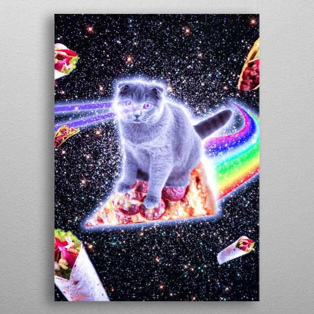 Pick up this funny hipster design with a galaxy kitty cat on pizza. metal poster