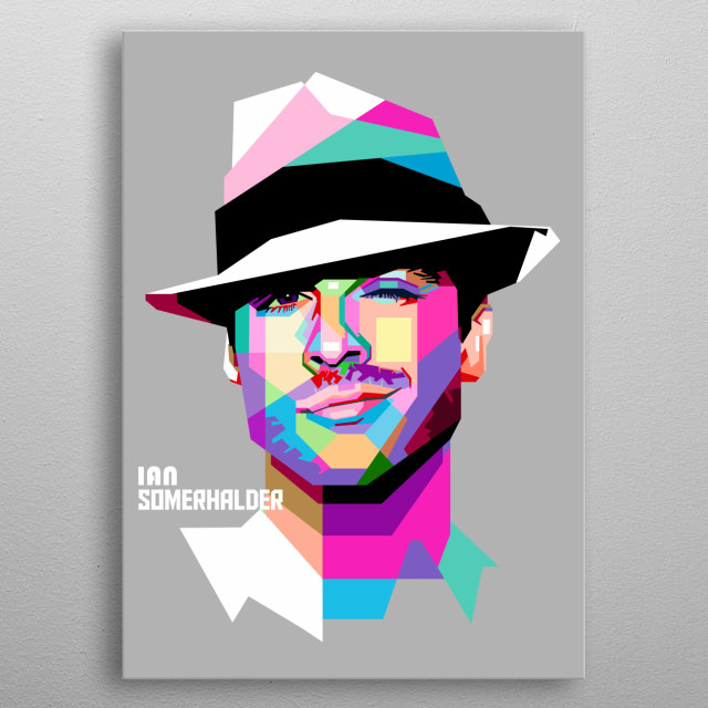 IAN SOMERHALDER in pop art style metal poster