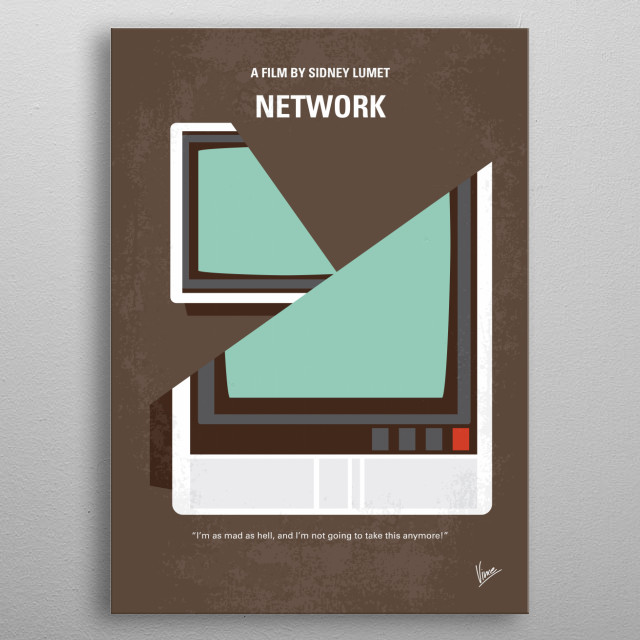A television network cynically exploits a deranged former anchor's ravings and revelations about the news media for its own profit.  metal poster