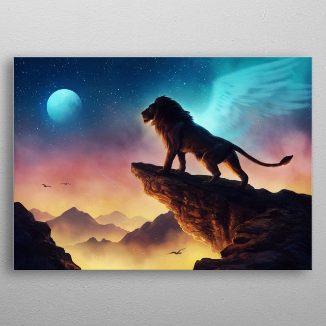 Illustration of a majestic lion, part of my Keepers of the Universe series. metal poster