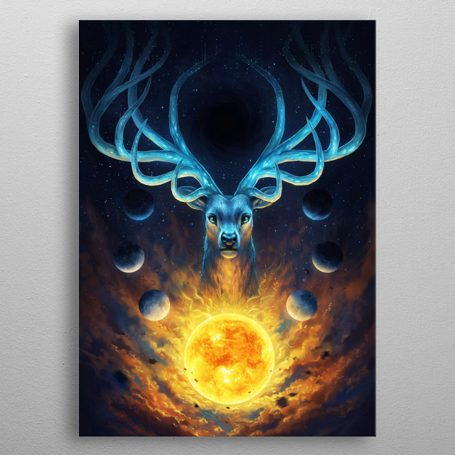 """Illustration of a galactic deer, part of my """"Keepers of the Universe"""" series. metal poster"""