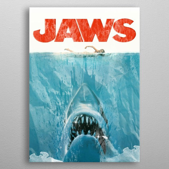 Jaws The original Shark horror! Water distressed movie poster metal poster