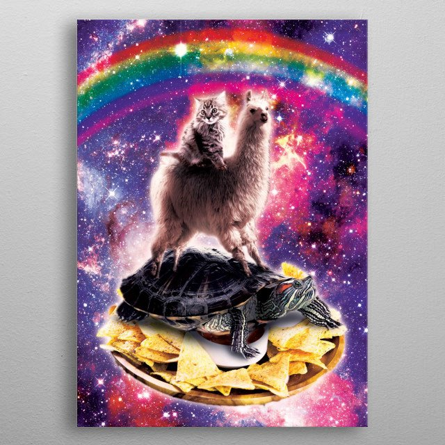 Pick up this funny outer space galaxy cat riding llama riding turtle on tortilla corn chips design. metal poster