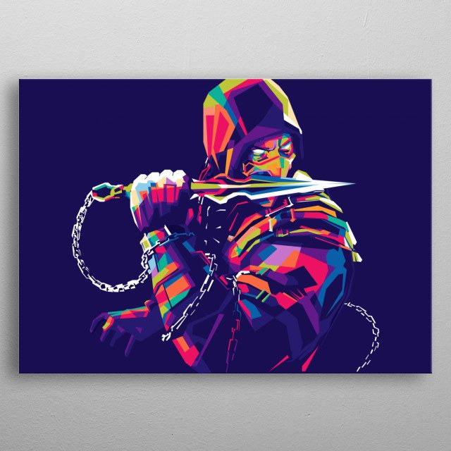 Scorpion from mortal kombat with pop art style metal poster