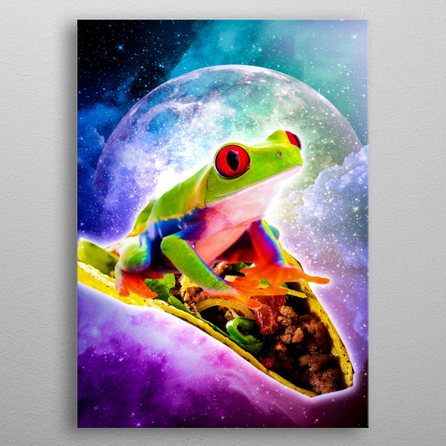 Pick up this crazy hipster design with a galaxy frog flying on a taco. metal poster