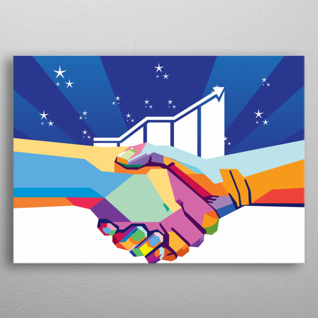 illustrated shakehand with popart color. and grow up chart and background with bright light with blue color. and stars shaped. metal poster