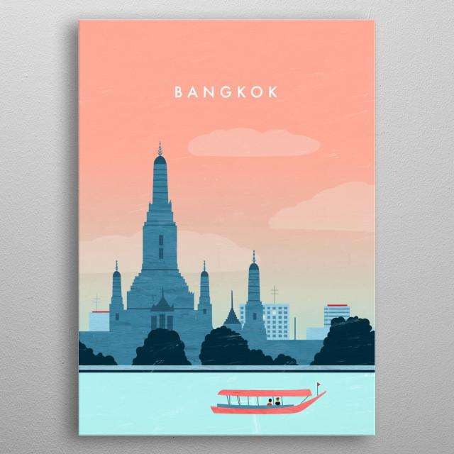 Illustration of Bangkok metal poster