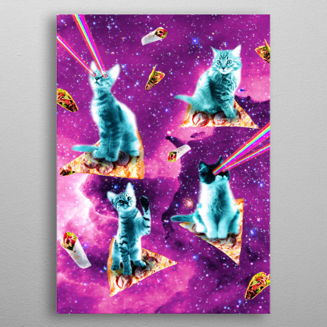 Pick up this funny rainbow galaxy cat design.  metal poster