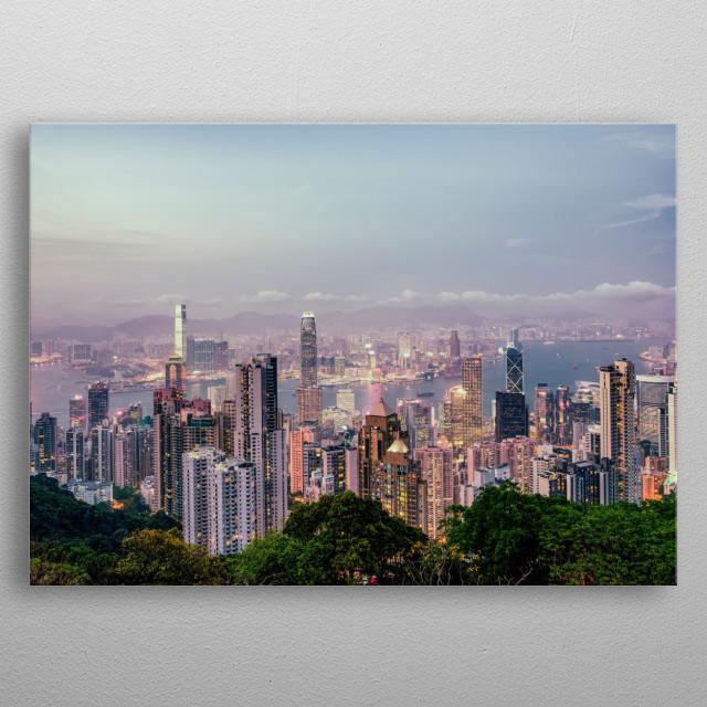 Skyline of Hongkong in the sunset metal poster