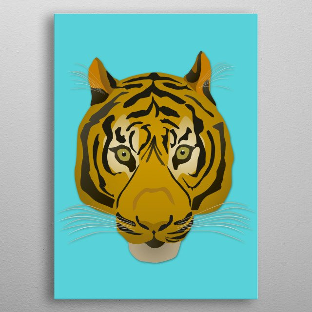 A digital vector portrait of a tiger metal poster