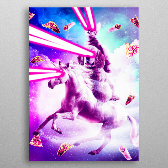 Pick up this funny epic hipster design with an outer space galaxy kitty cat and pizza, taco, and burrito. metal poster