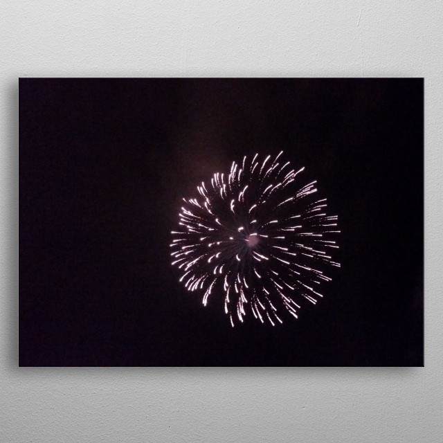 Firework exploding like an object in space metal poster