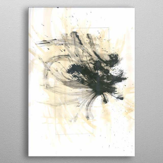 Spilled coffee on a paper sheet and then proceeded to spill china ink on top for a contrasting effect. metal poster