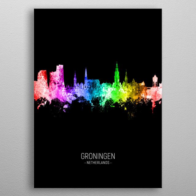 Watercolor art print of the skyline of Groningen, The Netherlands metal poster