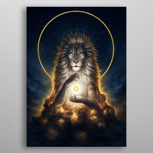 Illustration of a galactic lion, part of my Keepers of the Universe series. metal poster