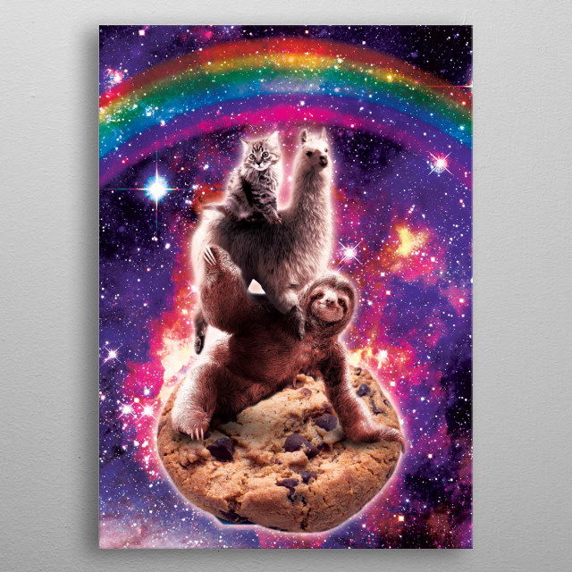 Pick up this funny outer space galaxy cat riding llama riding sloth on chocolate cookie design. metal poster